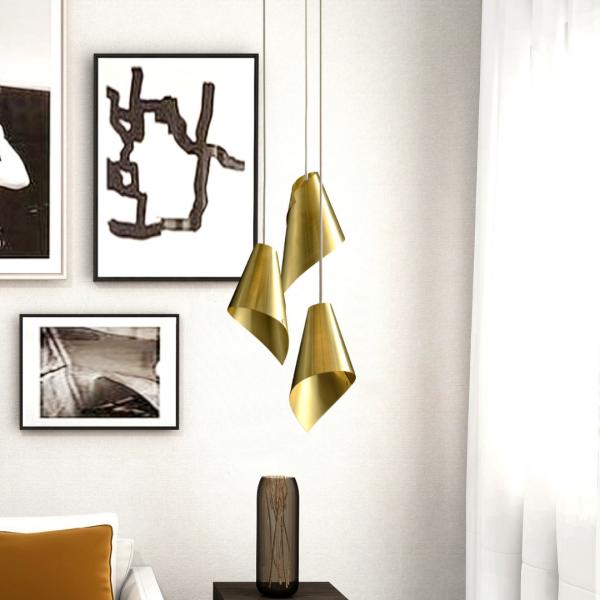 Brushed Brass Pendant Light Cluster