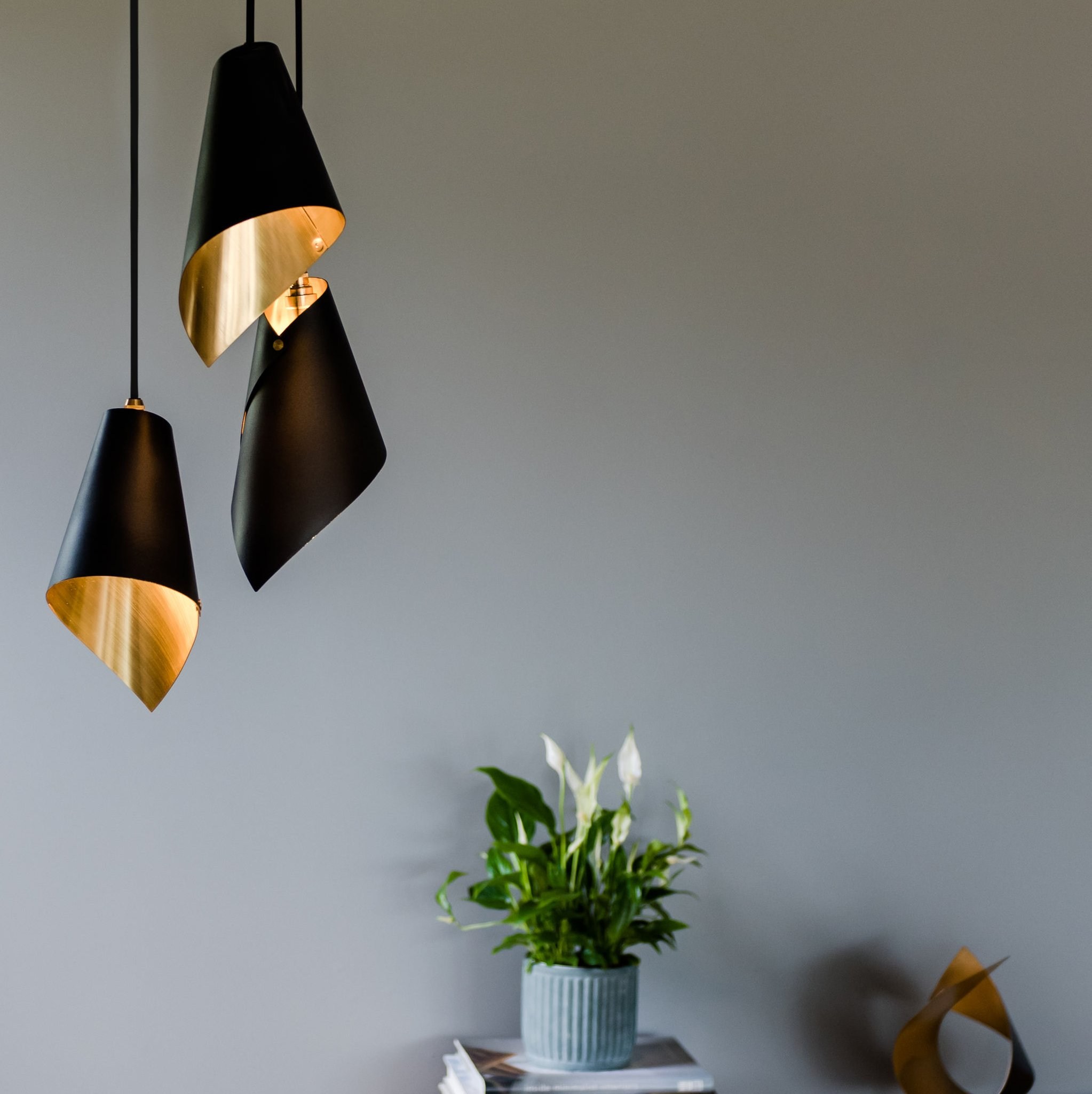 Pendant Light Cluster in Brushed Brass & Matte Black