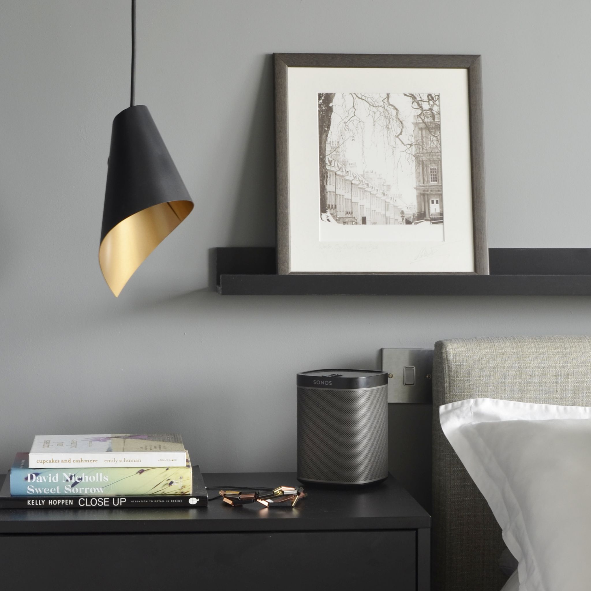 Single pendant light Black Gold Bedside light
