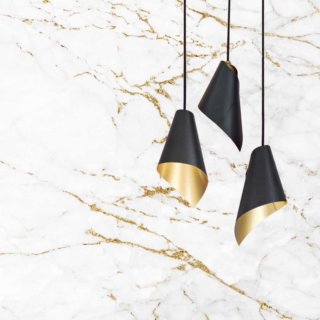 Triple Pendant Gold and Black Modern Pendant Lights