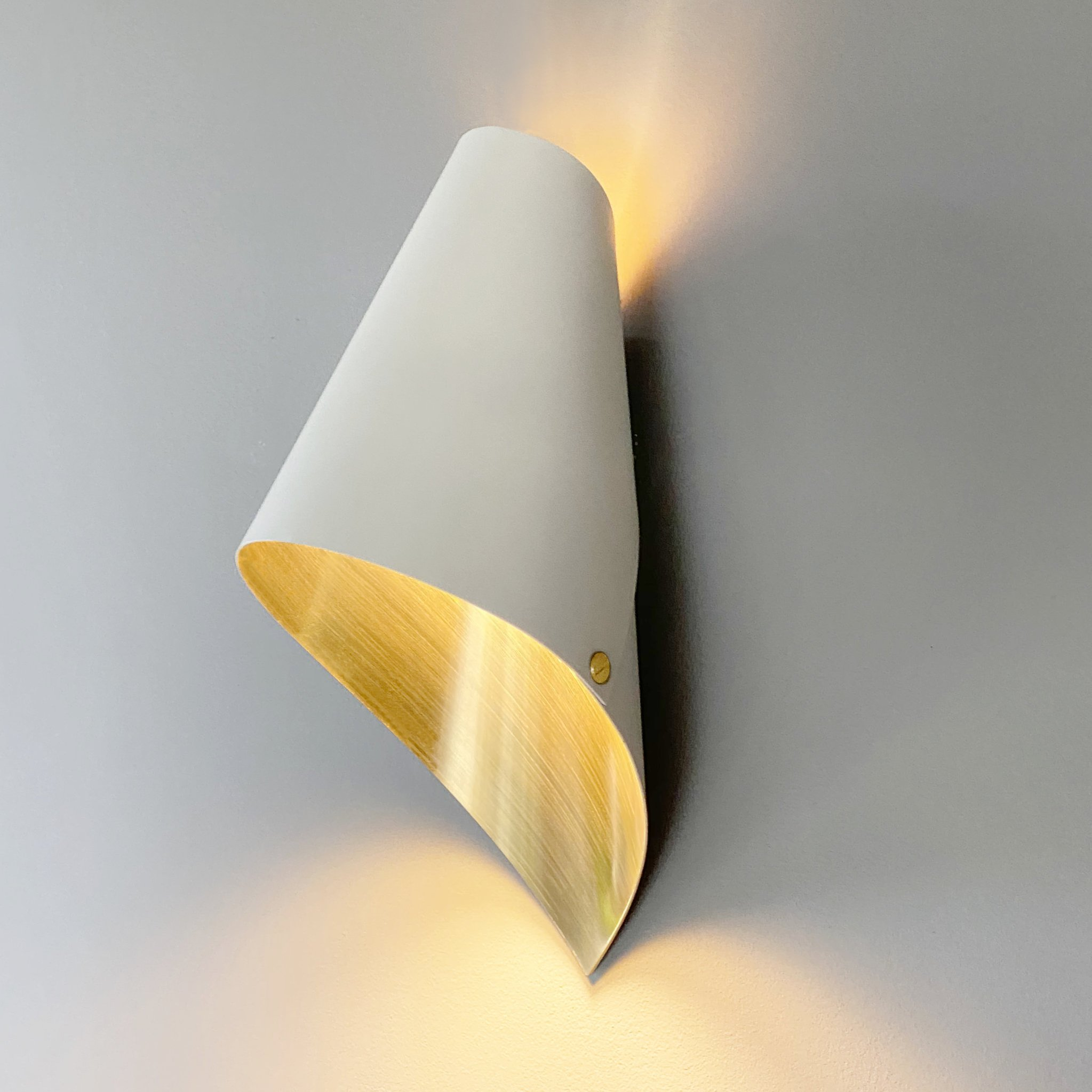 Wall Light Brushed Brass and White
