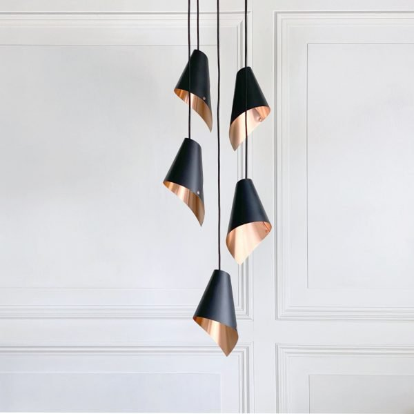 ARC 5 Pendant in brushed copper and black