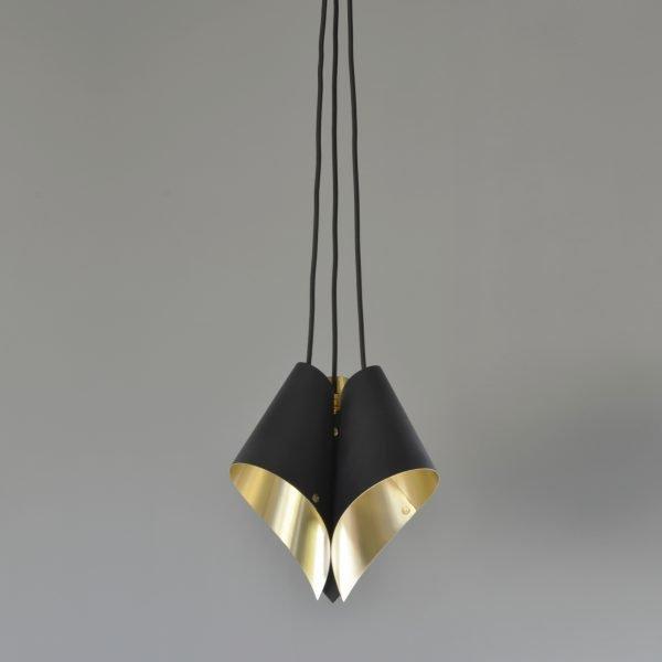 Brushed Brass and Matte Black Cluster Pendant Light