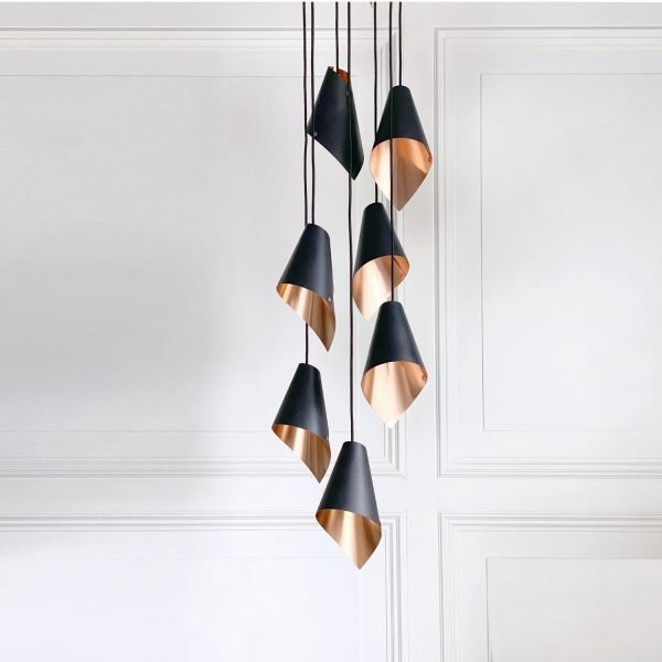 ARC 7 pendant ceiling light in brushed copper and black
